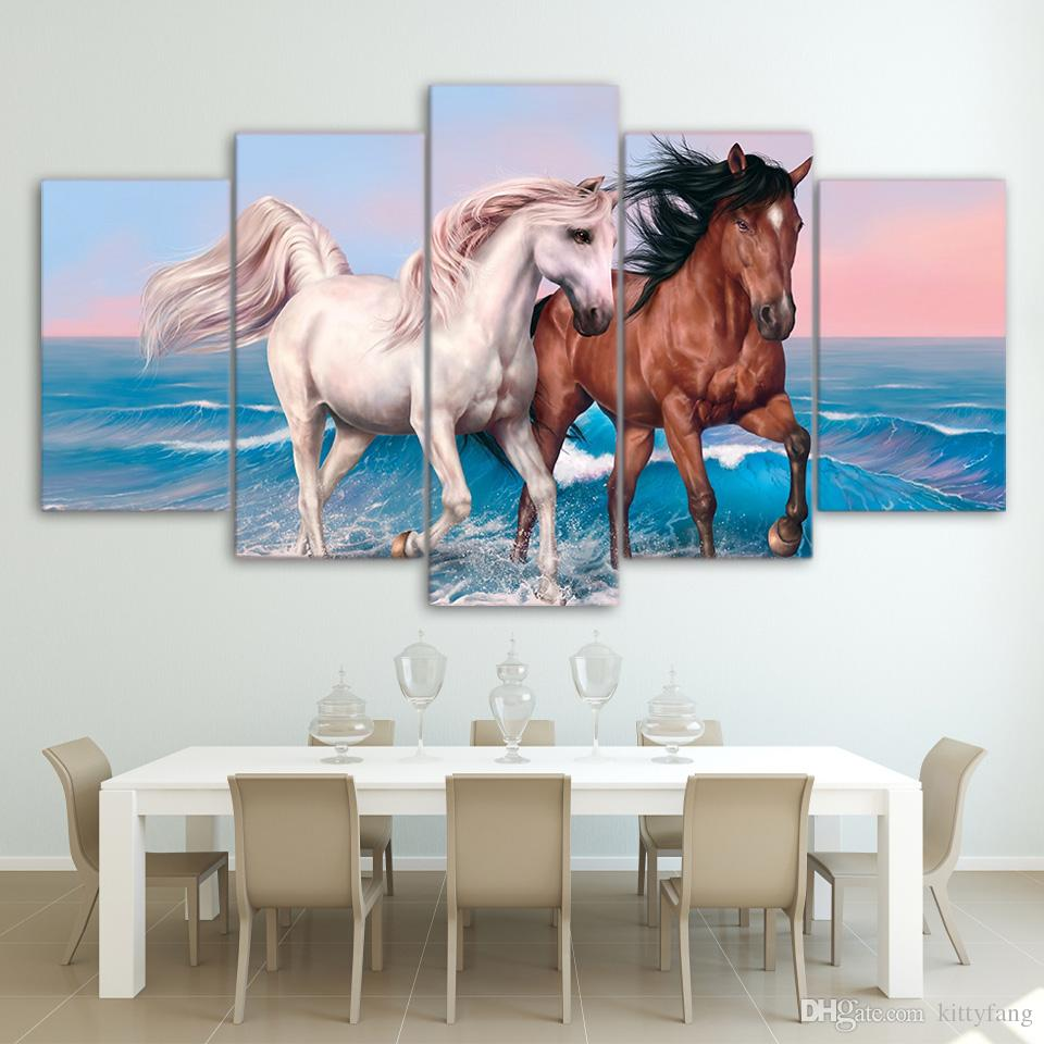 Framed HD Printed Brown And White Horses Canvas Art Painting Poster Picture For Room Wall Decorativo