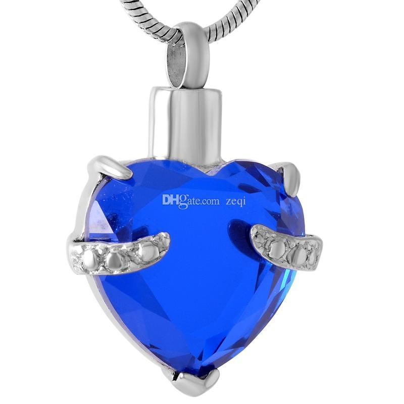 IJD8072 Collier pendentif crémation en cristal avec plaque en acier inoxydable et pendentif souvenir cendres souvenir pendentif uniquement
