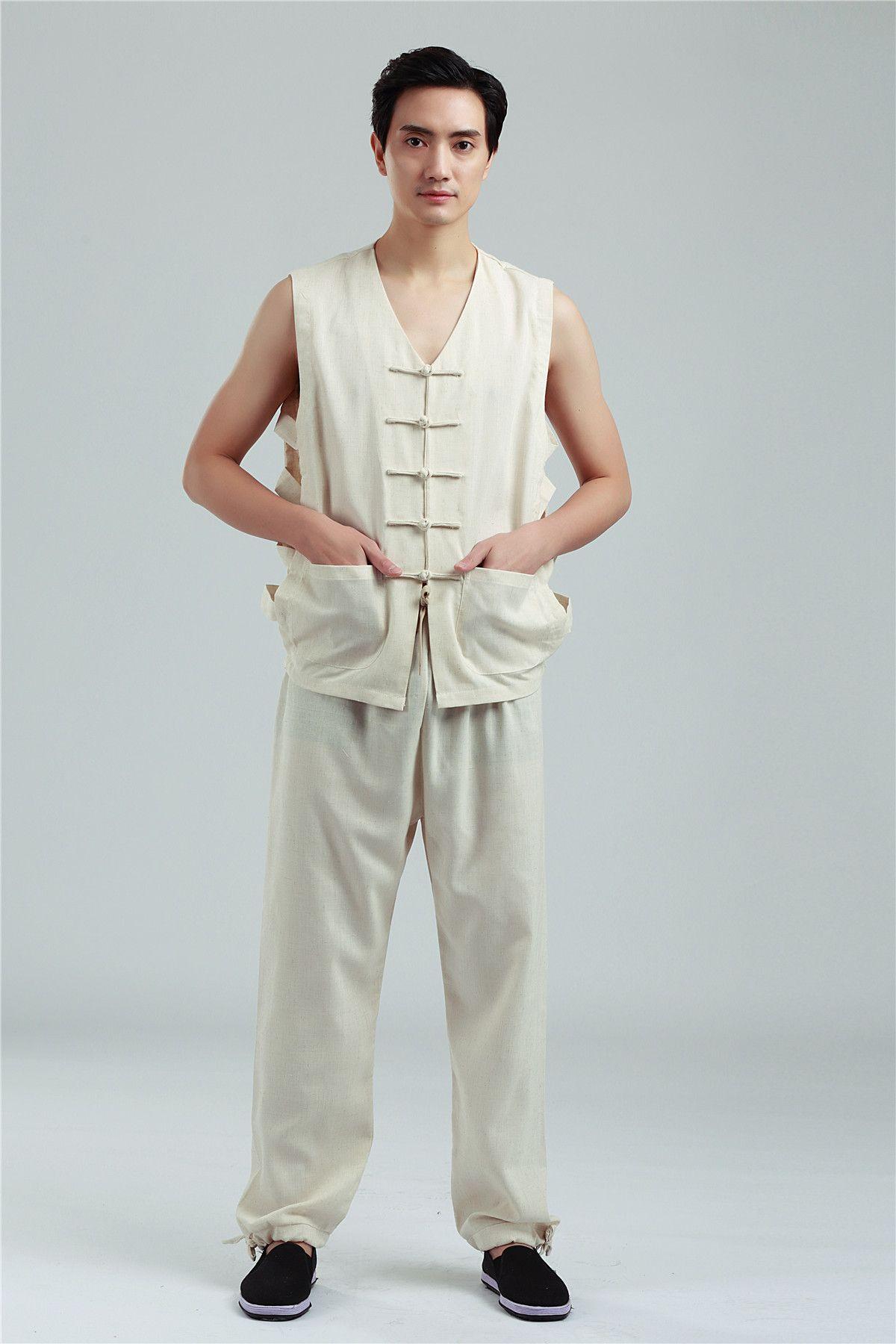 Shanghai Story Chinese tang suit sleeveless Vest Clothing Set linen vest summer men's national costume kung fu uniform