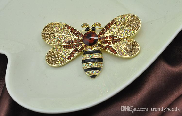 120x70mm Bumble Bee Brooch, Large Rhinestone Bee Broach Pin, Bumble Bee DIY Jewelry, Cake Brooch, Clutch Pillow Broach, Insect Brooches