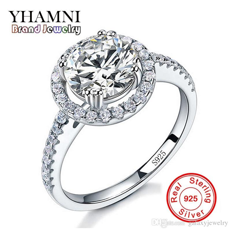 YHAMNI Luxury Original 925 Silver Jewelry Rings For Women Round 2 Carat CZ Diamond Silver Engagement Ring Wholesale AJ29Y