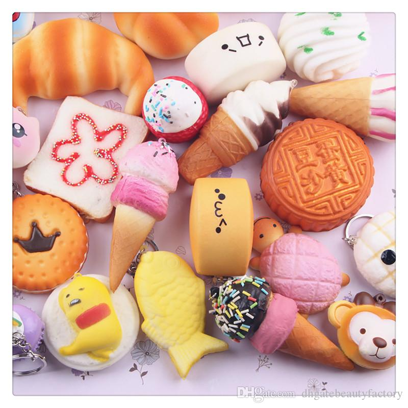 2018 New Cute Squishy Phone Straps Squishies Foods Phone Charm Key Chain Strap Lovely Soft Bread Cake Ice Cream Squishies Toys Fast Shipping