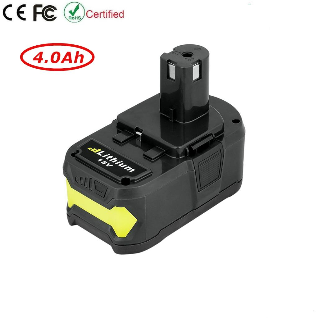 18V 4.0Ah Replacement Li-ion Battery for Ryobi ONE+ Cordless Drill Power Tool P102 P103 P105 P107 P108 P200 P2002 P201 Battery 18V 4.0Ah