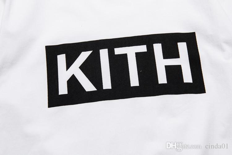Erkekler Giyim Yaz Erkek T-Shirt KITH Moda Mektuplar Baskılı Tee Serin Kısa Kollu Ekip Boyun Tees Adam Kadınlar Beyaz Siyah Tops