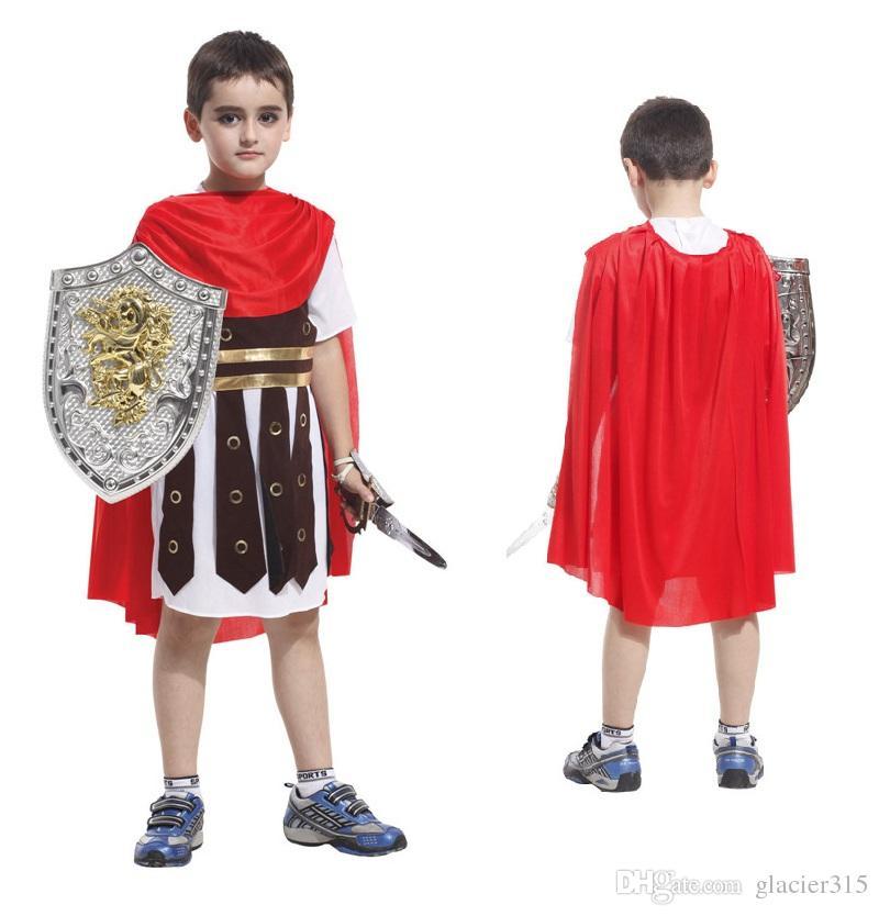 Roma antiga trajes para crianças cosplay traje guerreiro romano crianças soldado romano trajes para meninos do dia das bruxas roupas cosplay