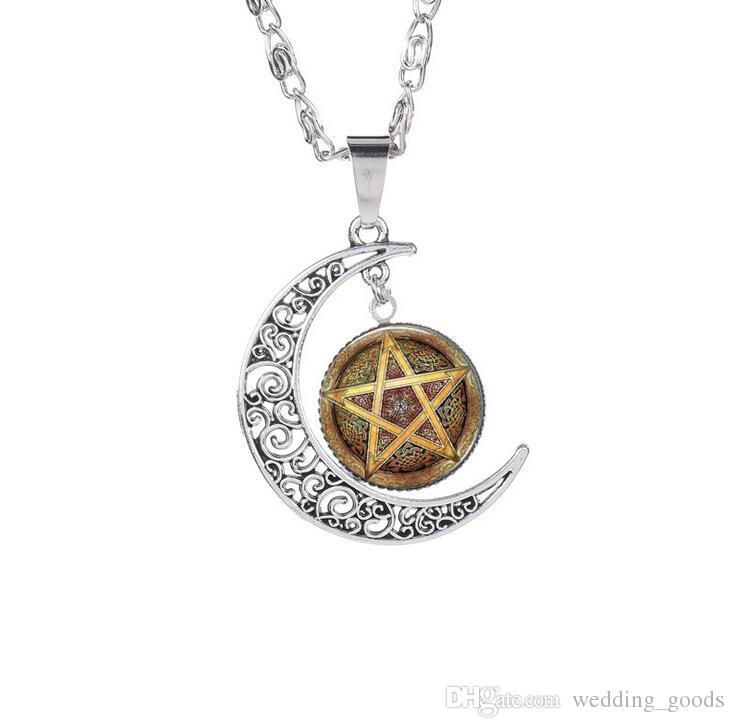 High quality Hot witchcraft five-pointed star pattern time gemstone necklace glass pendant WFN210 with chain a