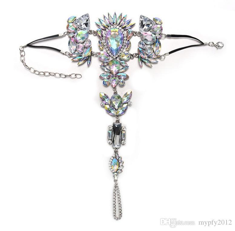 Été Style Femmes Big Gemstone Cheville Bracelet Sandale Chaîne Jambe Sexy Boho Cristal Plage Cheville Déclaration Bijoux YT