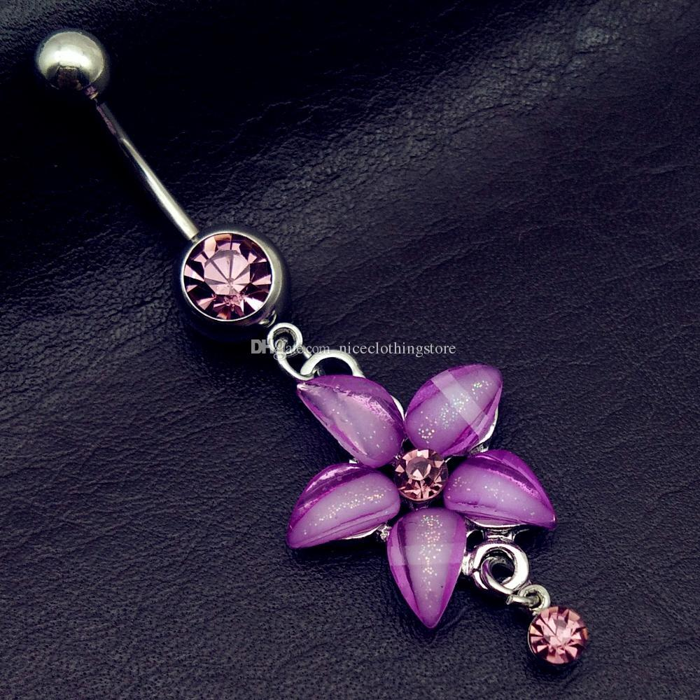 mix style pink angel dream catcher cross rose flower dangle navel belly bar button rings body piercing jewelry sets