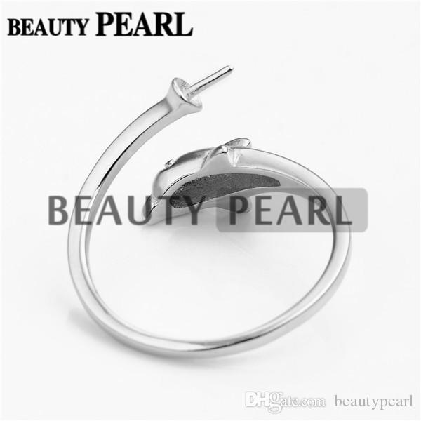 Dolphin Design Pearl Ring Mount Jewelry Findings Blanks 925 Sterling Silver for DIY Making