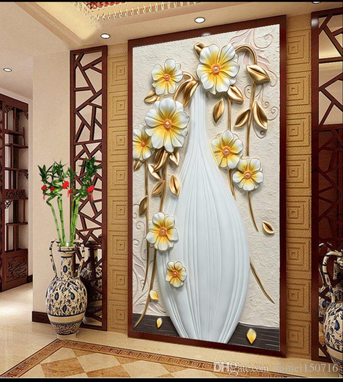 Custom 3d Mural Wallpaper Embossed Flower Vase Stereoscopic Entrance