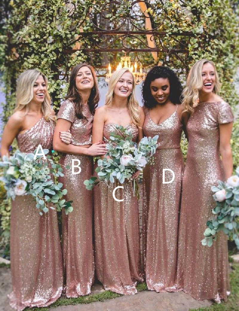 2019 Rose Gold Sequined Different Style Long Bridesmaid Dresses For Weddings Elegant Maid Of Honor Gowns Women Formal Party Dresses