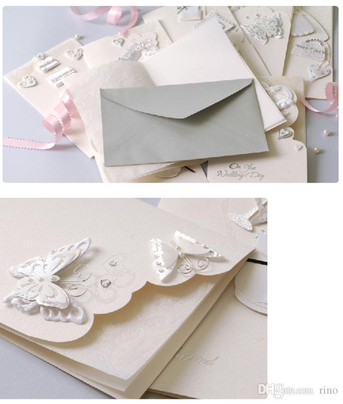 Düğün davetiyeleri kartları toptan elegent beyaz invitaitons kağıt kartları 8 hq zarf ile seçmek için stilleri kalite