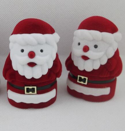 Jewelry Box Velvet Red Santa Claus Design Display Boxes Christmas Gift Ring Earring Ear Stud Necklace Jewellery Case Box Jewelry Organizer