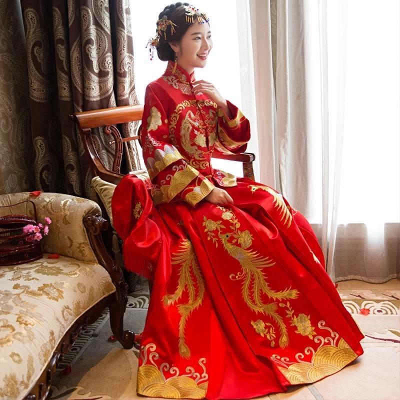 Compre Vestido De Boda Rojo Troditional Chino, Nuevo Juego De Xiuhe ...
