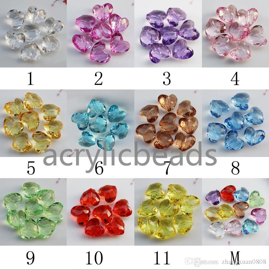 Factory Price Clear Acrylic Faceted Heart Shaped Crystal Beads Plastic Spacer Beads for Kid Jewellery Necklace Bracelets DIY