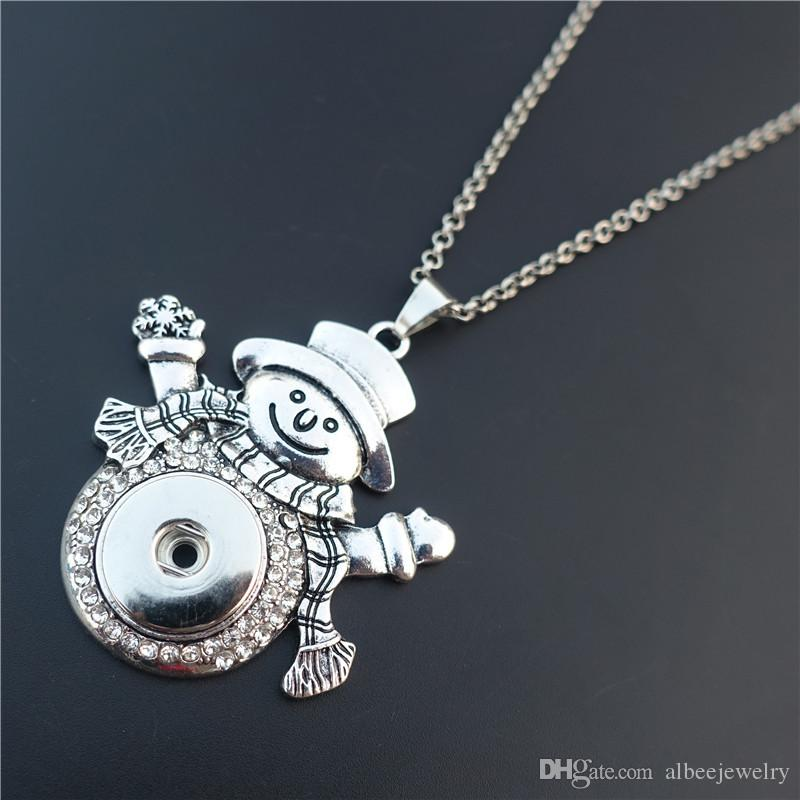 Crystal Rhinestone Christmas Snowman Noosa Chunks Metal Ginger 18mm Snap Buttons Pendant Necklace Wholesale