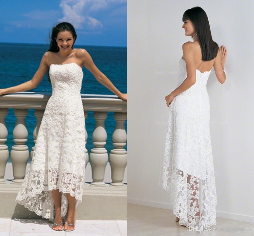 Spitze Strand Brautkleid Mantel / Spalte trägerlos hoch niedrig asymmetrische Brautkleid rückenfrei Reißverschluss zurück Vintage Brautkleider billig