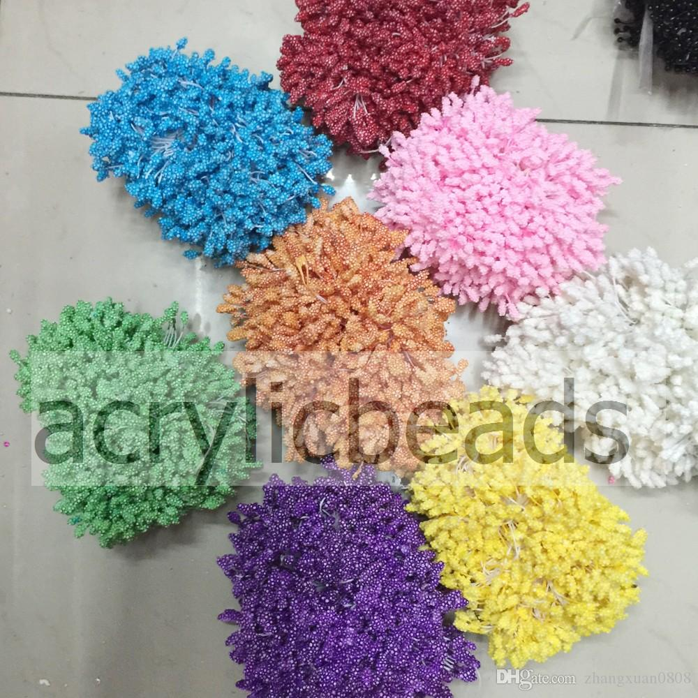 Cheap Beautiful 200pcs Colors Grapes Double Side Head Artificial Flower Stamens for Wedding Garland Sugarcraft Making Cake Decoration