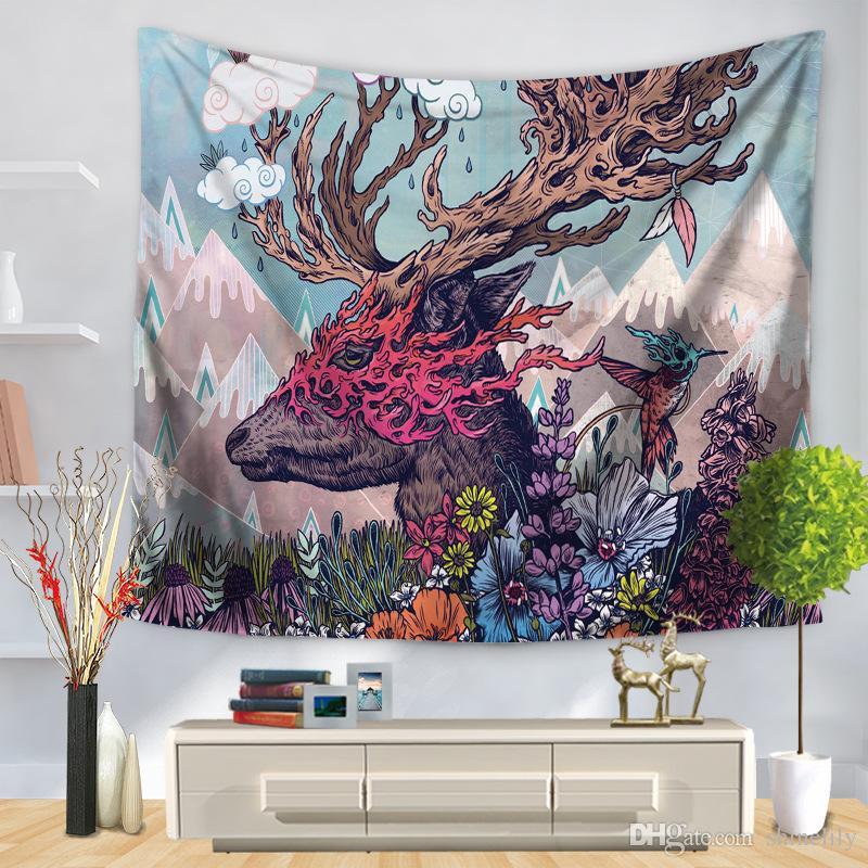 Flamingo Deer Tiger Print Nature Bedding Tapestry Printed Beach Wall Hanging 150130cm Polyester Home Decor Yoga Mat Blanket Modern