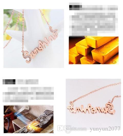 Sale Luxury High-grade Fine Jewelry Accessories Sweet Micro Inlay Zircon Sunshine Letter Pendant Real Gold Charm Chokers Necklaces For Women