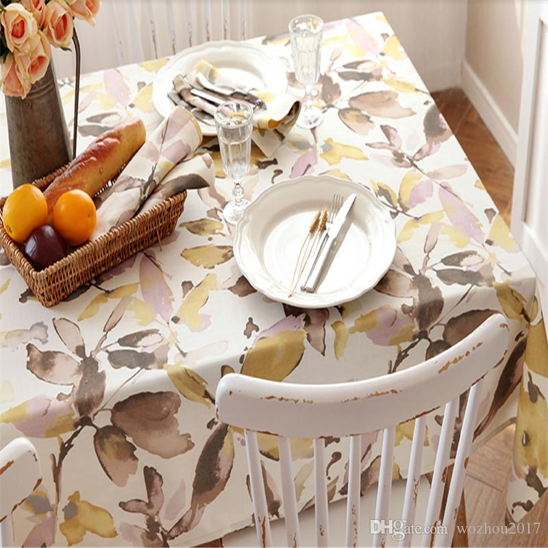 1960 Print Leaves Cotton Tablecloth Table Cover Coffee Tea Natural Table  Cloth Cup Mat For Wedding Home Party Holidays Gift Plastic Christmas  Tablecloths ...
