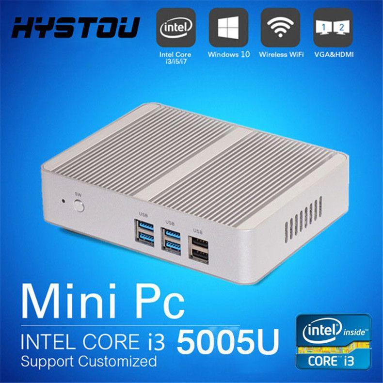 HYSTOU Intel Core i3 5005u 12V Lüfterloser Mini-PC i3 Windows-Computer Barebone i3-Computer Linux-Server 300M WiFi HDMI VGA 1080P