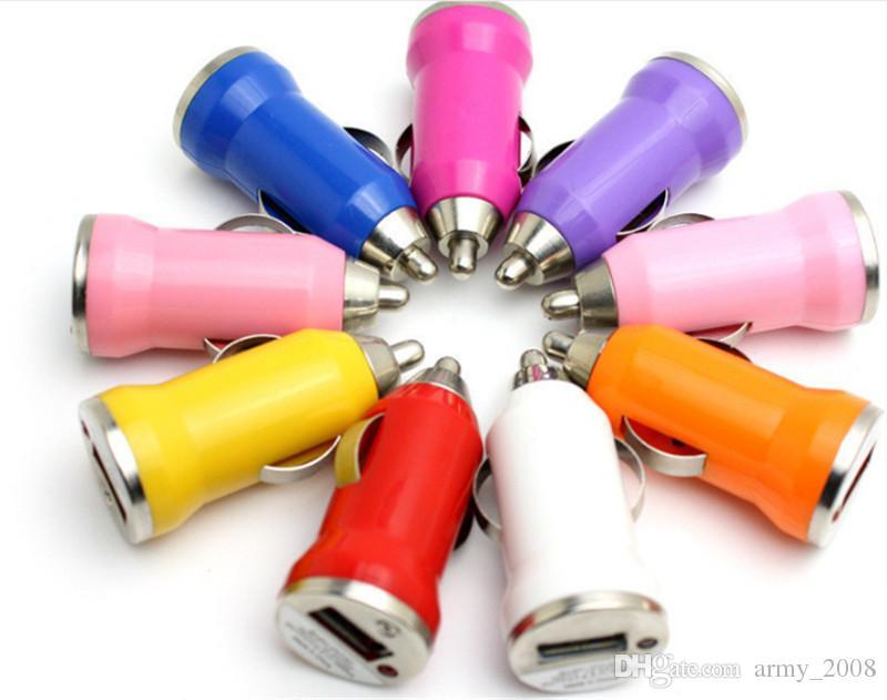Para iPhone7 Cargador de coche USB Colorido Bullet Mini Cargador de coche Cargador portátil Adaptador universal para Iphone 5 5S