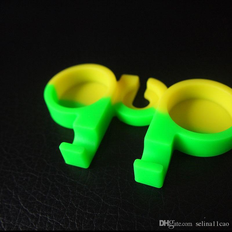 3ml Double Chamber FDA Non-stick Silicone Wax Containers Jars Silicone Dab Dabber Conjoined Rubber Storage Silicon Dabber Tool Box Divider