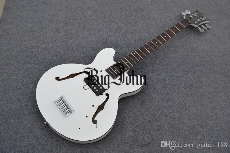 new arrived Big John 5-strings hollow electric bass guitar in white made in China F-1881