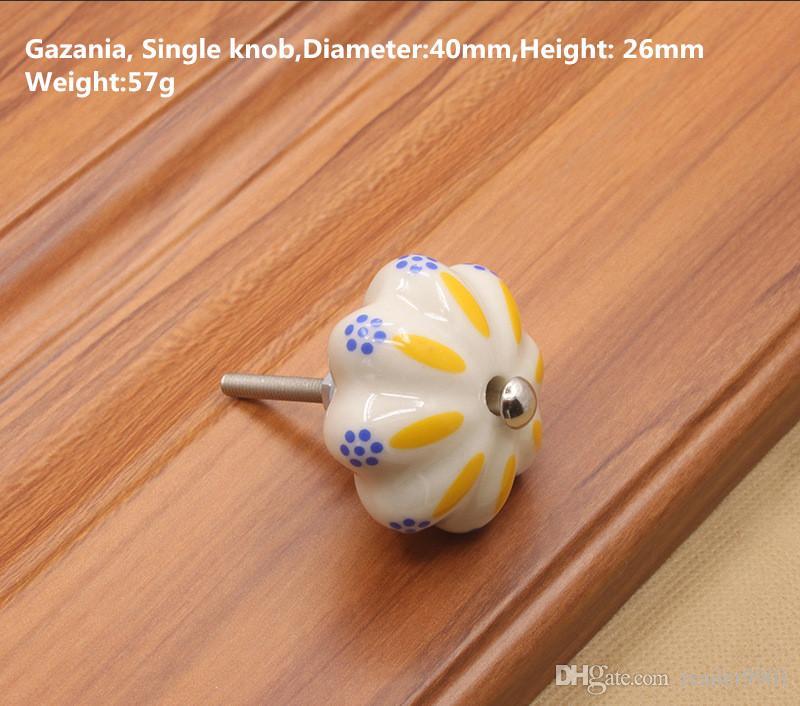Divertida planta de orquídeas coloridas Imprimir Calabaza forma redonda cerámico perilla de una sola manija tirar de un solo gabinete gabinete muebles tirar # 445 / 1.1
