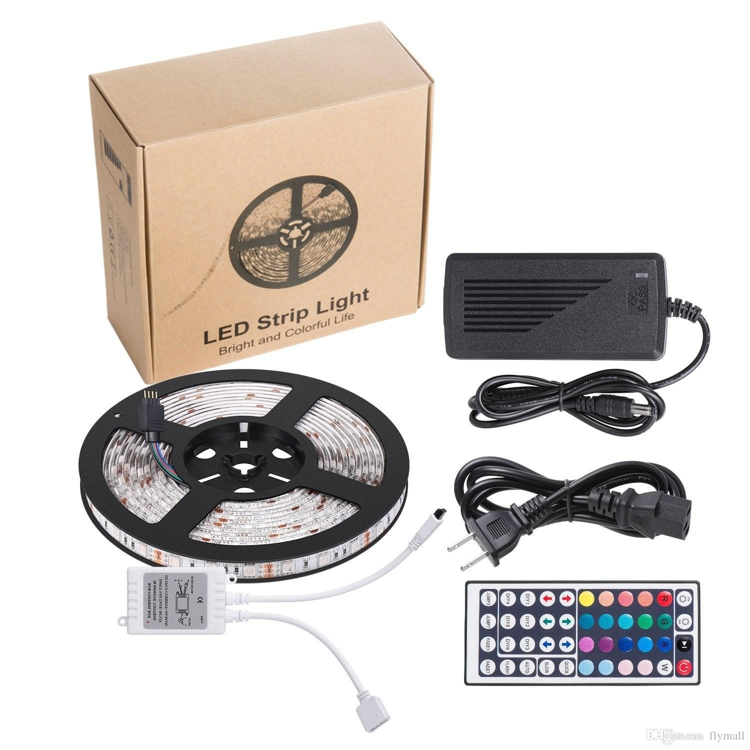 Waterproof Flexible LED Strip light 5M 5050 SMD RGB Strip Lights With 44 key IR Remote Controller With 12V 5A Power Supply 110V-240V CE UL