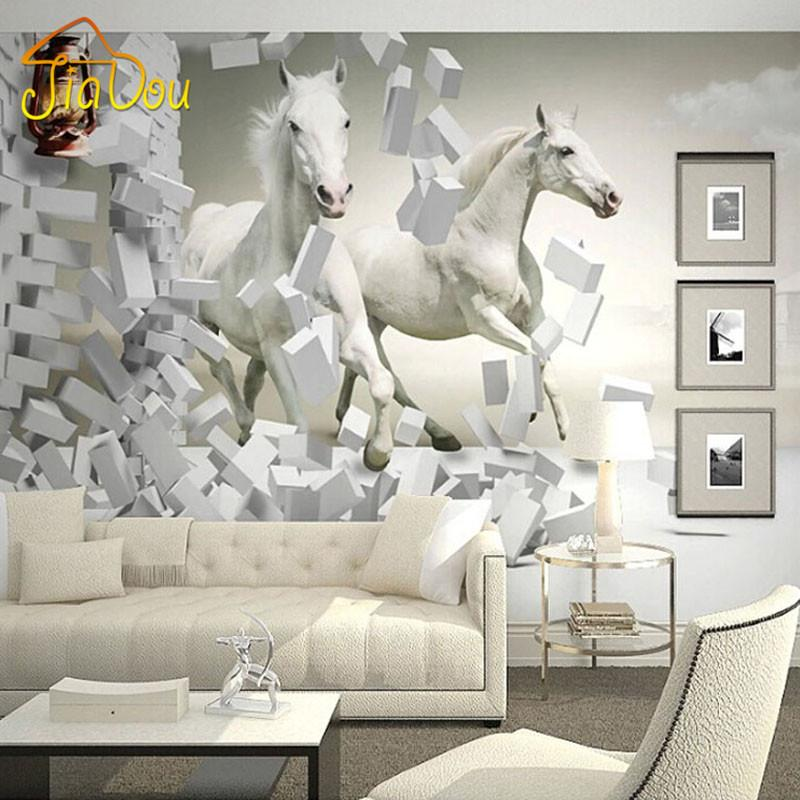 Wholesale Home Improvement Custom 3d Wall Murals Wallpaper White Horse Living Room Sofa Tv Backdrop Wallapper For Walls Contact Paper Retro