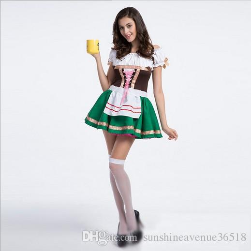 Oktoberfest Beer Girl Sexy Maid Dress Off The Shoulder Vintage Luxury Cosplay Halloween Costumes Dance Performance Clothing Hot Selling