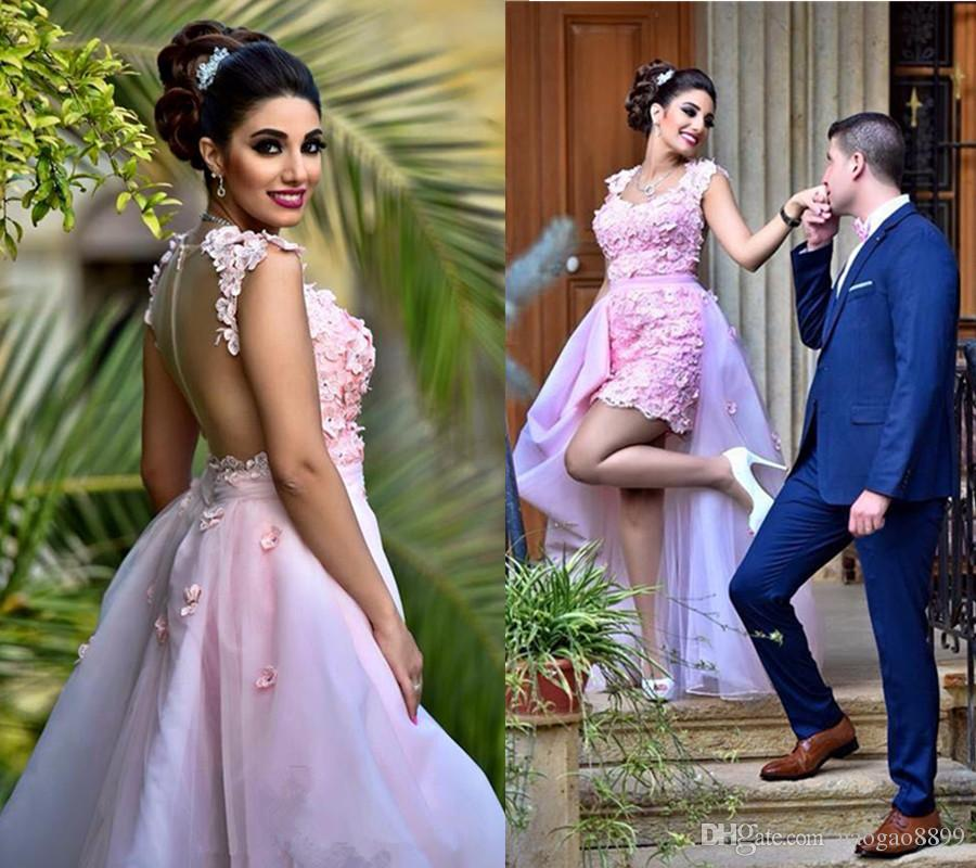 2019 Flower Crystal Light Pink High Low Removable Skirt evening dresses With Long Detachable Train 3D floral occasion prom gowns