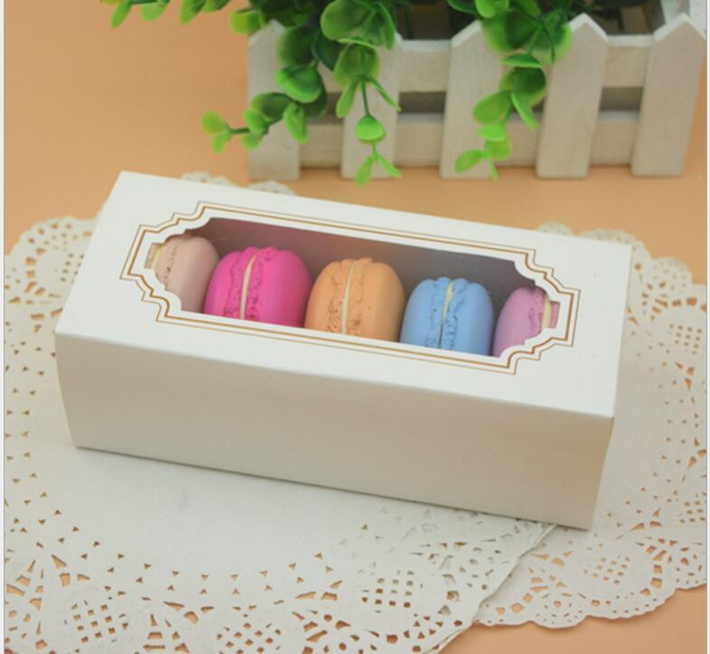 Macaron Box Cake Box Biscuit Muffin Box15.5*6.5*5cm Home Made Macaron Paper Party Boxes For Bakery Cupcake