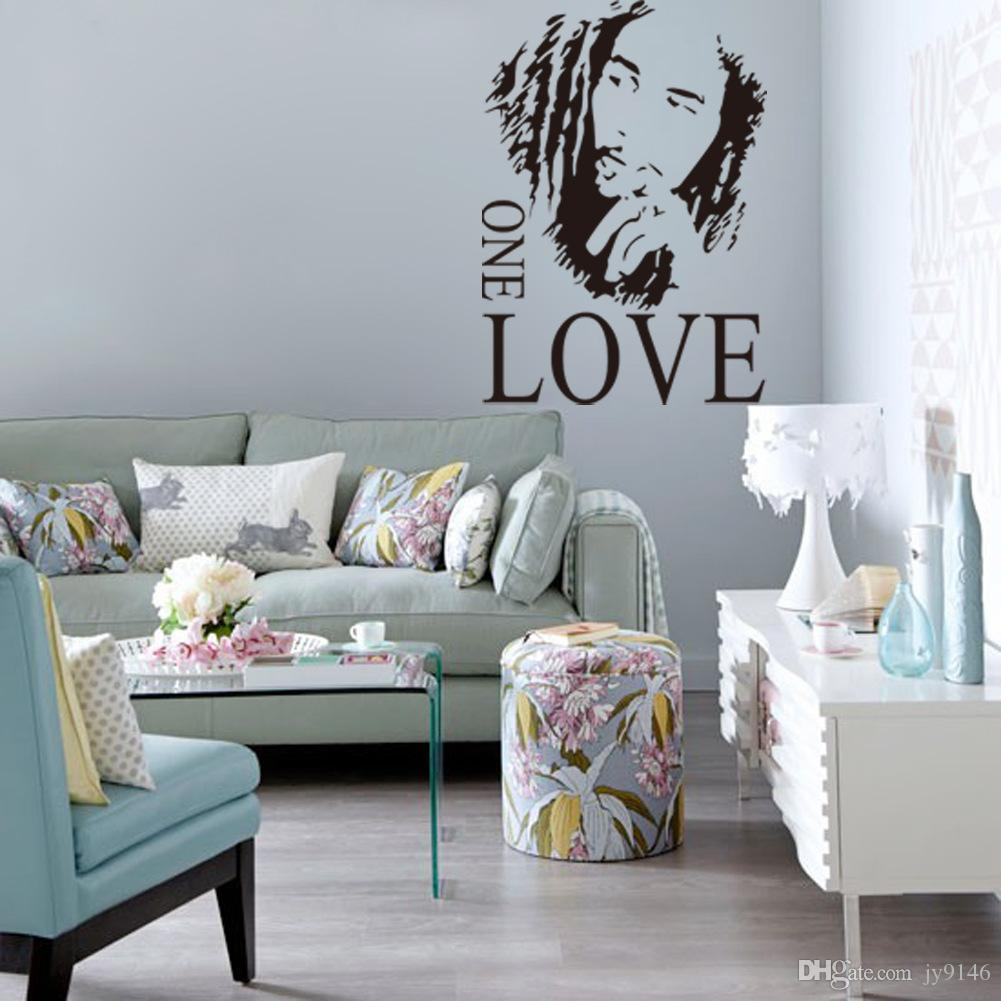 4361cm PVC Quote Wall Stickers BOB MARLEY ONE LOVE Art Mural Wallpaper Removable Decal For Living Room And Bedroom Decoration Home Decor