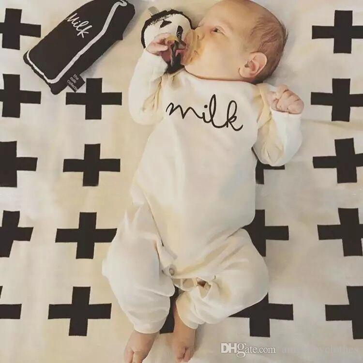 Ins Hot Sale Spring Milk Baby Clothes Baby Rompers Long Sleeve Boy