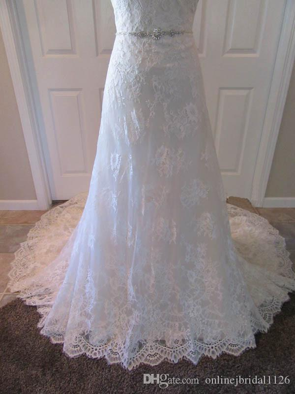 Real Photos Lace A Line Wedding Dress Sweetheart Beaded Sashes Appliques Belt Customized Bridal Gown COR-1218 Robe De Mariee