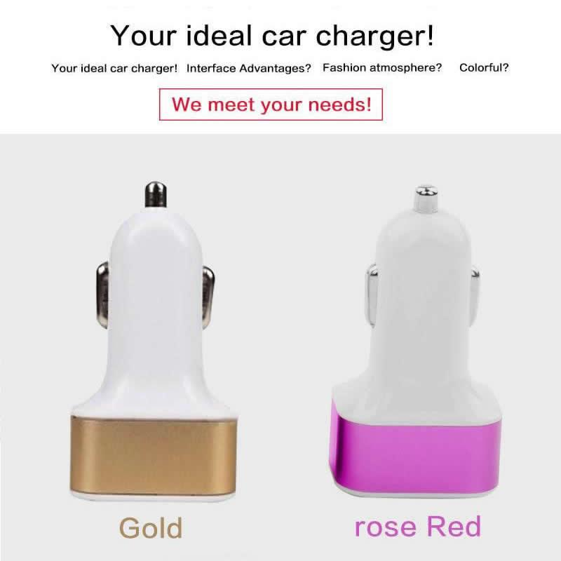 For Samgsung Galaxy S6 Htc Metal 5V 3 Port Car Phone Charger Iphone Mini Micro Usb Car Charger Power Bank Universal Adapter