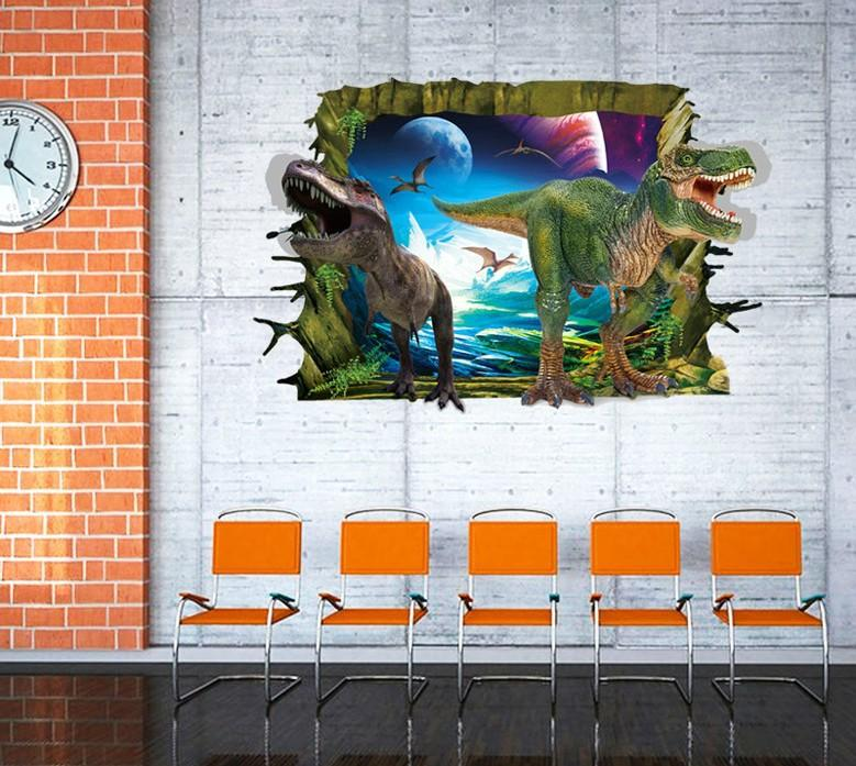 3d Dinosaur Wall Art ay9265 3d dinosaur wall stickers decals for kids rooms art for