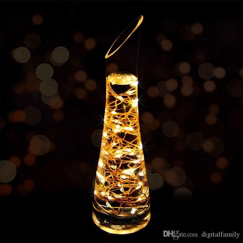 2M 20LEDs llevó la secuencia con pilas CR2032 tiras de LED estrellada Micro Mini Luz de cobre alambre de plata para la Navidad decoración de Halloween