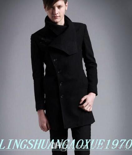 2018 Black Casual Oblique Placket Wool Coat Men 2017 Jackets And ...