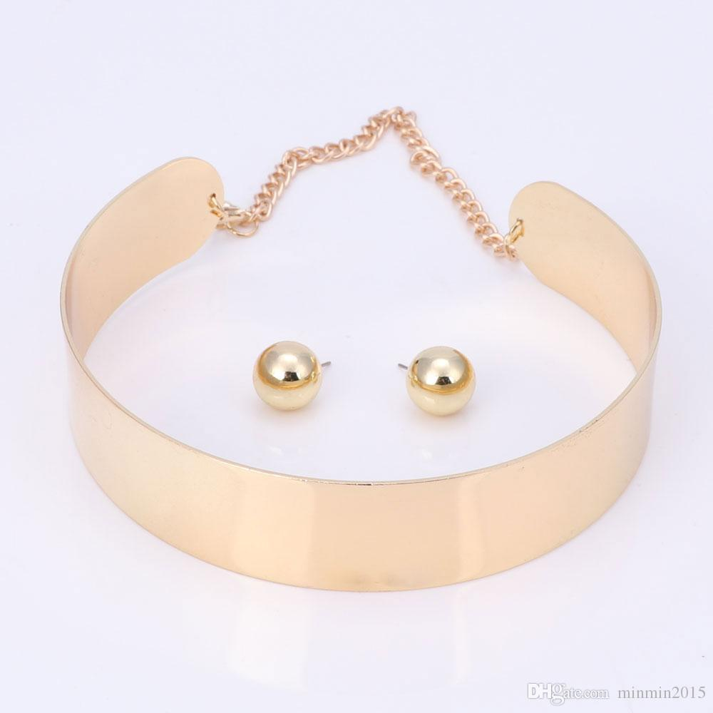 Party Jewelry Sets Women Costume Statement Necklace Earring Fashion Gold Plated Romantic Classic Wedding Accessories Holiday