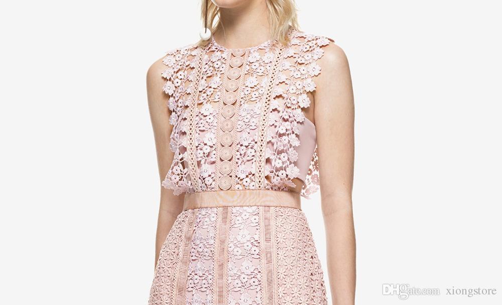 rosa alta qualità 2019 nuove donne di stile di estate ricamo pizzo floreale runway dress partito elegante signore mini corti carro armato dreeses