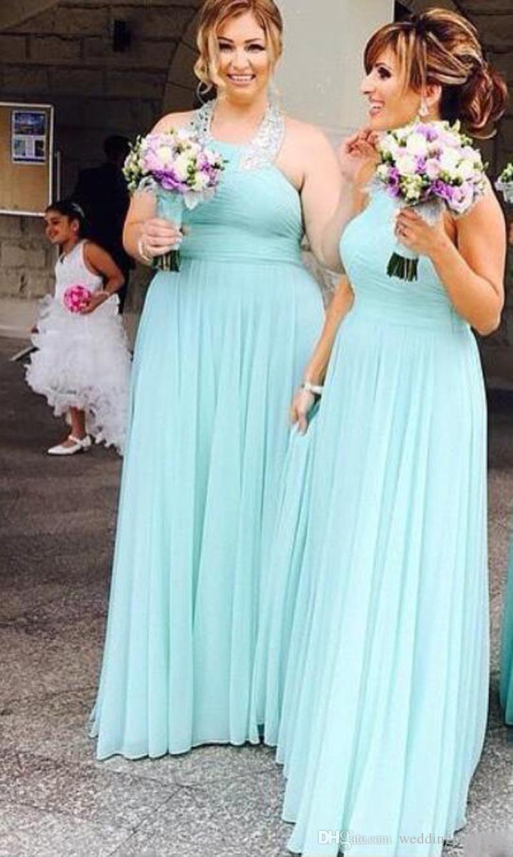 Mint Verde Halter Pescoço Chiffon Da Dama De Honra Vestidos Longos Prom Dress Maid Of Honor Vestidos de Festa Para O Casamento Barato Convidados vestidos
