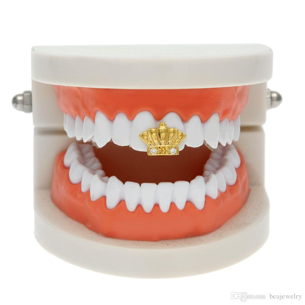 New Silver Gold Plated Crown shape Hip Hop Single Teeth Grillz Cap Top & Bottom Grill for Halloween Party Jewelry