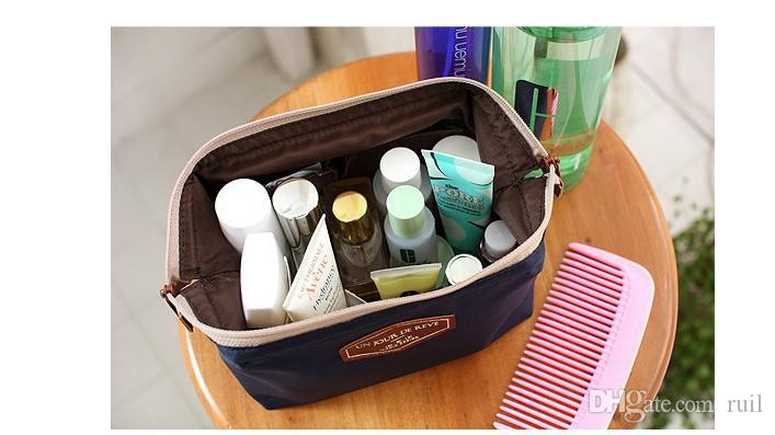 Portable travel makeup pouch make up Steel handbags cosmetic bag case women ring fixed storage bags toiletries kit jewelry case