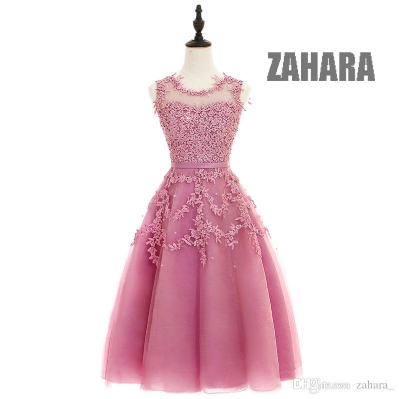 Cheap Dust Pink Beaded Lace Appliques Short Prom Dresses Dresses ...