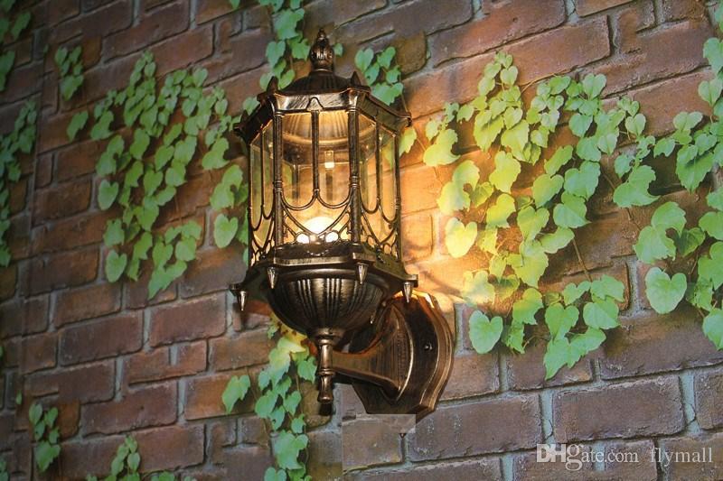 Bronze antique en laiton IP65 luxary américain européen extérieur applique vintage classique étanche lampe de mur extérieur lampe murale Lanterne murale