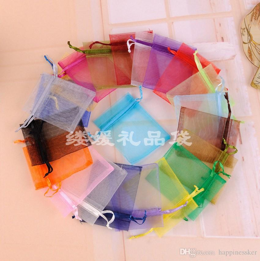 Hot Sales!Multicolor With Drawstring Organza Gift Bags gauze candy Bags